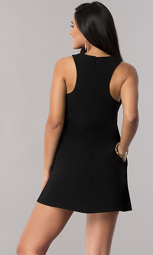 Image of short shift casual party dress with pockets. Style: SS-JA92461GKW Back Image