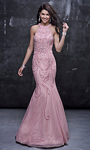 Long Prom Dress with Open Back and Pearl Accented Design