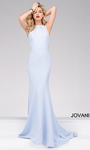 Long Fitted Crepe Open Back Prom Dress