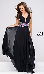 Long V-Neck Prom Dress with Embroidery from JVN by Jovani