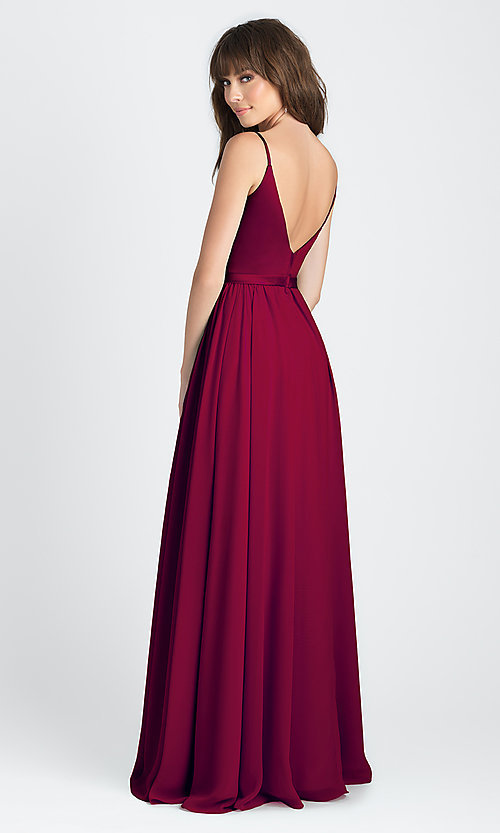 Satin and Chiffon Burgundy Long Prom Dress -PromGirl