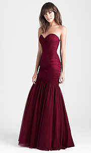 Lace-Up Burgundy Red Mermaid Prom Dress