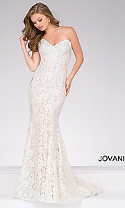 Long Beaded Lace Strapless Prom Dress