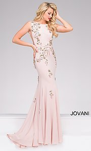 Long Jersey Prom Dress with Sheer Sides by Jovani
