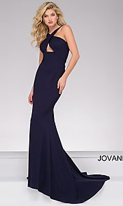 High V-Neck Open Back Jovani Prom Dress