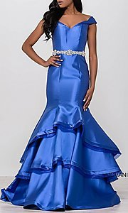Off-the-Shoulder Sweetheart Tiered Skirt Prom Dress