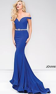 Long Off the Shoulder Sweetheart Jovani Prom Dress