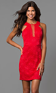 Image of short red lace sheath party dress with illusion inset. Style: CT-3372XA3B Front Image