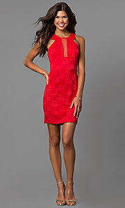 Image of short red lace sheath party dress with illusion inset. Style: CT-3372XA3B Detail Image 1