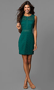 Image of short lace sheath party dress in emerald green. Style: CT-3443YS3B Detail Image 1
