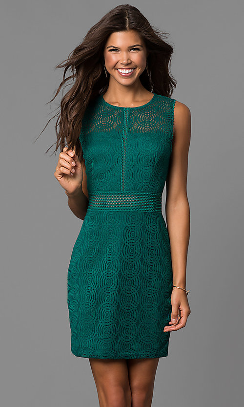 Image of short lace sheath party dress in emerald green. Style: CT-3443YS3B Front Image