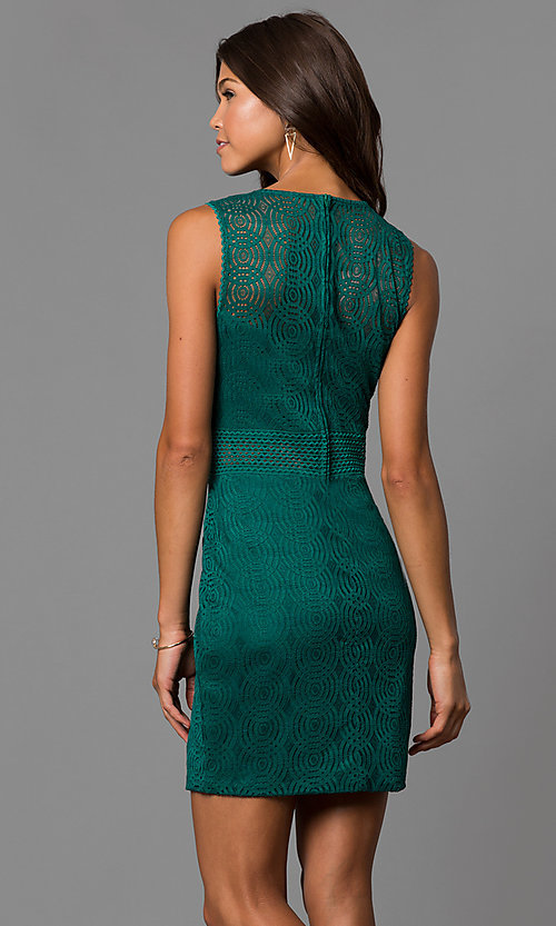 Image of short lace sheath party dress in emerald green. Style: CT-3443YS3B Back Image