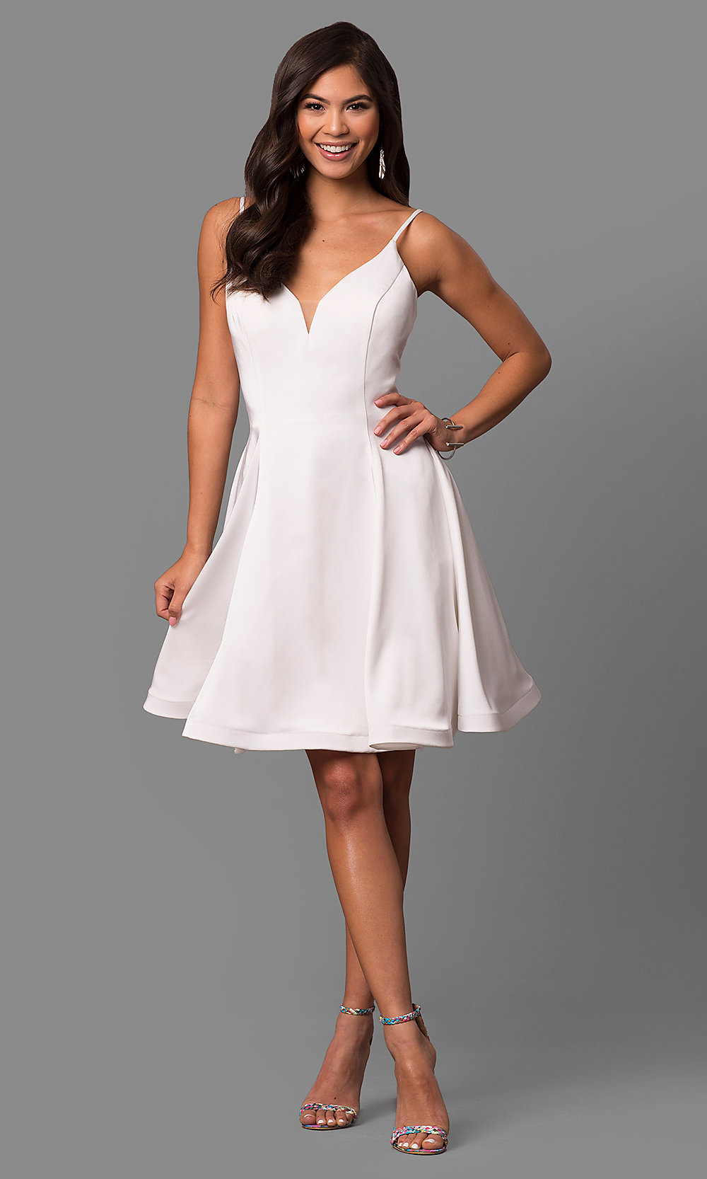 Short white homecoming dresses with straps