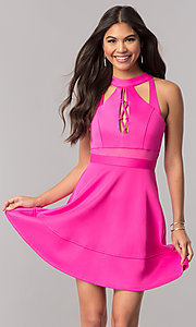 Image of hot pink short party dress with cut outs. Style: EM-FFU-1003-654 Front Image
