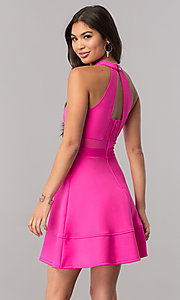 Image of hot pink short party dress with cut outs. Style: EM-FFU-1003-654 Back Image