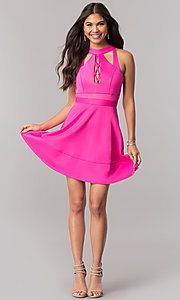 Image of hot pink short party dress with cut outs. Style: EM-FFU-1003-654 Detail Image 1
