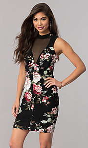 Image of floral-print short party dress with keyhole back.  Style: EM-EXQ-3204-002 Front Image