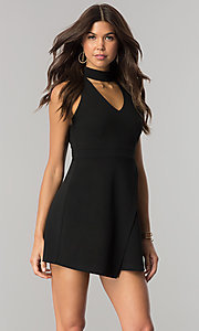 Image of short black party dress with high choker collar. Style: EM-FHZ-2146-001 Front Image