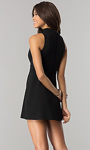 Image of short black party dress with high choker collar. Style: EM-FHZ-2146-001 Back Image