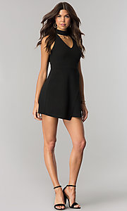 Image of short black party dress with high choker collar. Style: EM-FHZ-2146-001 Detail Image 1