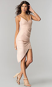 Image of v-neck short party dress with asymmetrical hem. Style: EM-FHW-3189-848 Detail Image 1