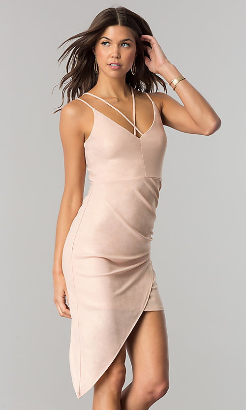 Image of v-neck short party dress with asymmetrical hem. Style: EM-FHW-3189-848 Front Image