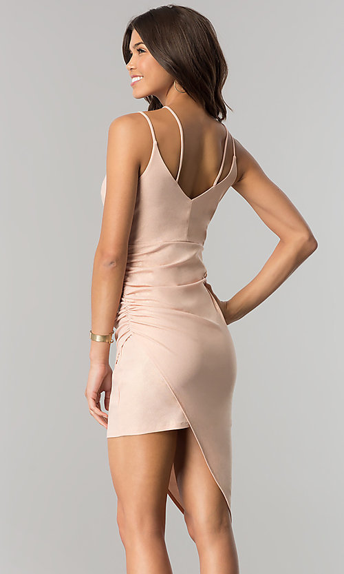 Image of v-neck short party dress with asymmetrical hem. Style: EM-FHW-3189-848 Back Image