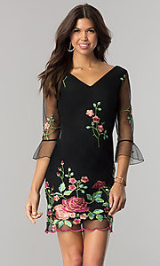 Short V-Neck 3/4 Sleeve Embroidered Party Dress