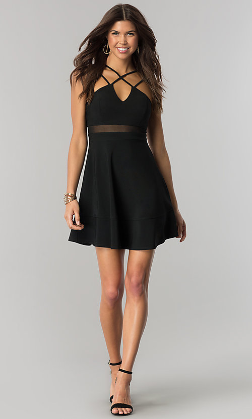 Image of short empire-waist black party dress with v-neck. Style: EM-FiB-1027-001 Detail Image 1