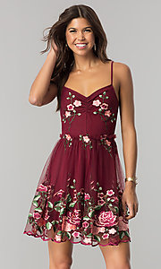Image of embroidered short wine red party dress with ruching. Style: EM-FiH-3206-550 Front Image