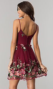 Image of embroidered short wine red party dress with ruching. Style: EM-FiH-3206-550 Back Image