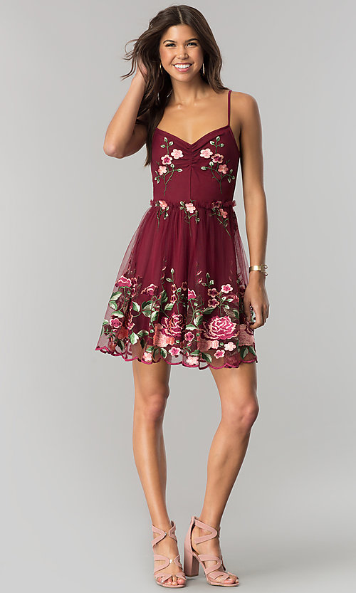 Image of embroidered short wine red party dress with ruching. Style: EM-FiH-3206-550 Detail Image 1