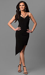 Short Asymmetrical Skirt V-Neck Party Dress
