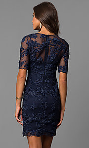 Image of embroidered short party dress with sheer sleeves. Style: MD-D15301CEX Back Image