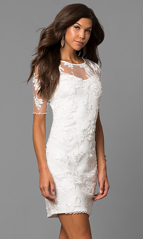 Image of embroidered short party dress with sheer sleeves. Style: MD-D15301CEX Front Image