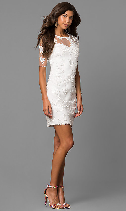 Image of embroidered short party dress with sheer sleeves. Style: MD-D15301CEX Detail Image 1