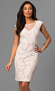 Short Lace Party Dress with Illusion V-Neckline