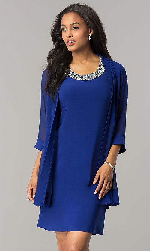 Short Blue Shift Party Dress with Jacket - PromGirl