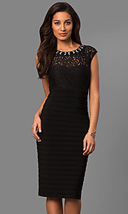 Knee-Length Black Party Dress with Lace Bodice