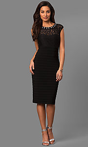 Image of knee-length black party dress with lace bodice. Style: SD-S278181 Detail Image 1