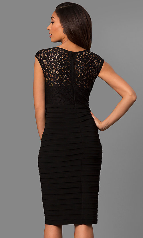 Image of knee-length black party dress with lace bodice. Style: SD-S278181 Back Image