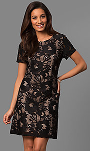 Short Sleeve Floral Lace Party Dress