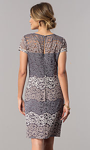 Image of short-sleeve lace sheath party dress in platinum silver. Style: SD-S274013 Back Image