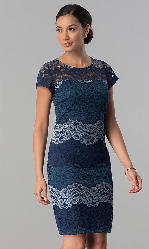 Image of short-sleeve lace sheath party dress in platinum silver. Style: SD-S274013 Detail Image 2