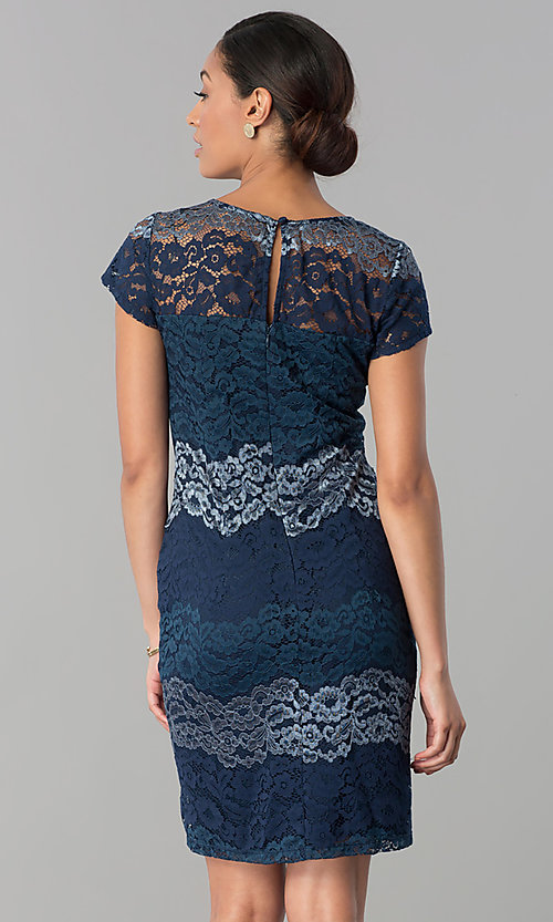 Image of short-sleeve lace sheath party dress in platinum silver. Style: SD-S274013 Detail Image 3