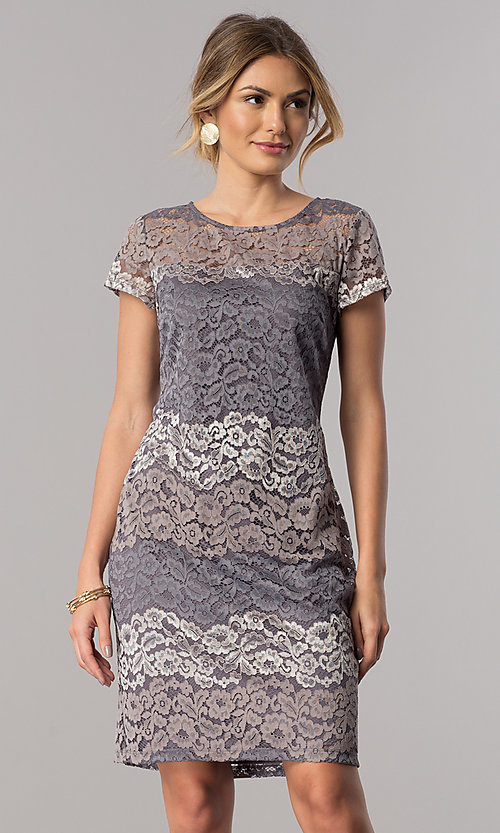 Image of short-sleeve lace sheath party dress in platinum silver. Style: SD-S274013 Front Image