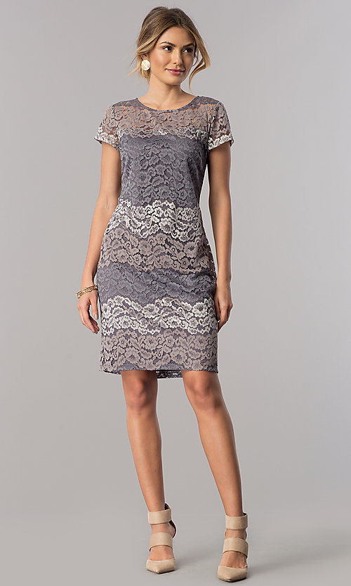 Image of short-sleeve lace sheath party dress in platinum silver. Style: SD-S274013 Detail Image 1