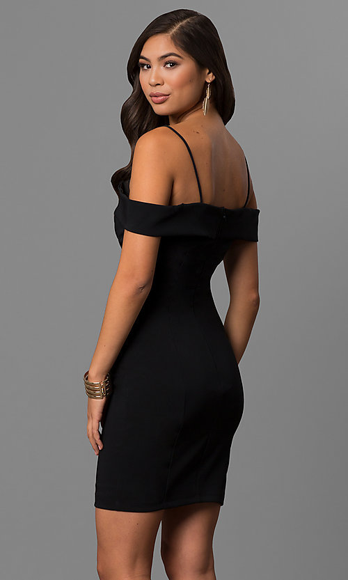 Image of off-the-shoulder short party dress with deep v-neck. Style: MCR-1952 Back Image