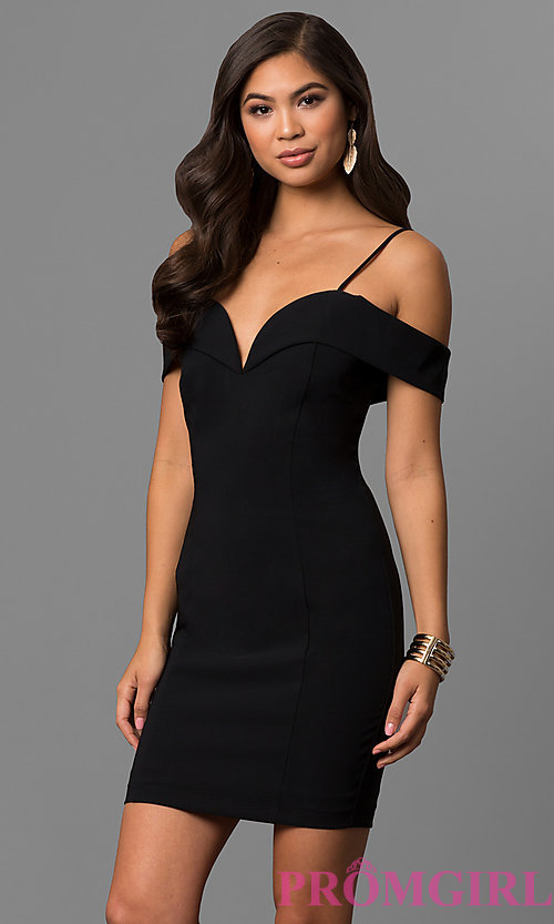 Image of off-the-shoulder short party dress with deep v-neck. Style: MCR-1952 Front Image