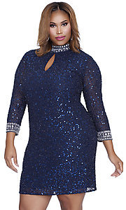 Short Mock Neck Sequined Plus Size Prom Dress